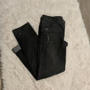Free People Black Washed Out Denim Distresse Jeans